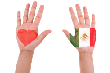 Hands with a painted heart and mexican flag, i love mexico conce