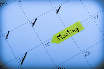 Setting a meeting date on calendar