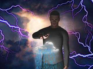 Man with power over raincloud
