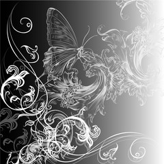 Vector floral background with swirls and butterfly