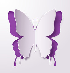 Greeting card with a paper butterfly. Vector illustration.