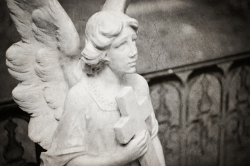 angel holding cross tombstone - textured