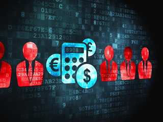 Privacy finance concept: Business Man And Calculator on digital