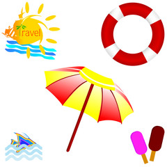 beach icon with travel art vector illustration