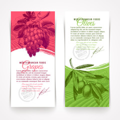 Vector vertical banners with hand drawn grapes and olives