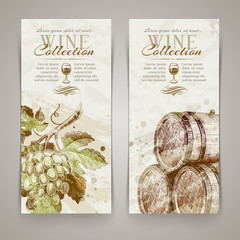 Vintage vector vertical banners with hand drawn grapes and casks