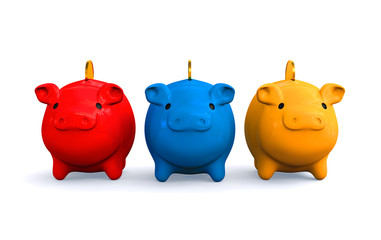 3D colored piggy banks