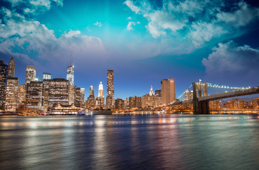 Spectacular sunset view of lower Manhattan skyline from Brooklyn