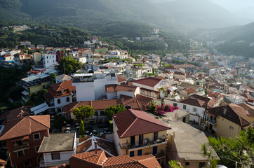 Partial view of parga city, greece, in the early morning