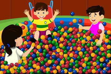 Kids playing in ball pool