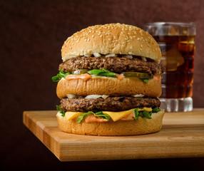 Double Cheeseburger and Soda