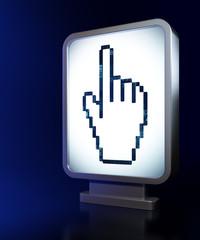 Social media concept: Mouse Cursor on billboard background