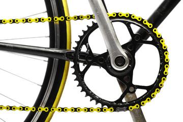 Yellow bicycle chain