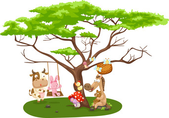 Illustration of wild animals near the big tree