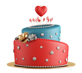 Red and blue birthday cake