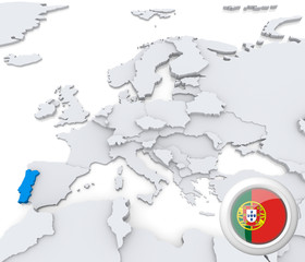 Protugal on map of Europe