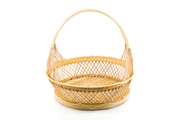 Rattan basket isolated.