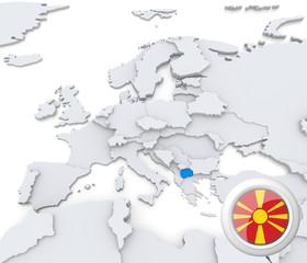 Macedonia on map of Europe