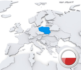 Poland on map of Europe