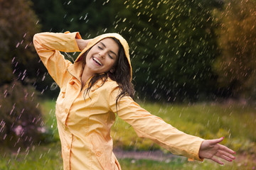 Happy woman enjoying in nature