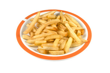 Plate with french fries on a white background.