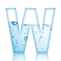 Water and water bubble alphabet letter.