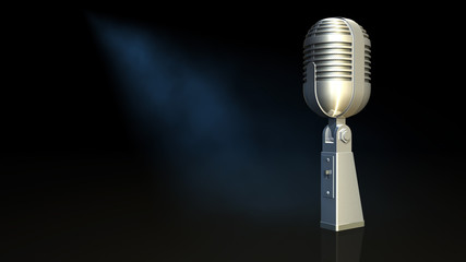 Microphone and black background
