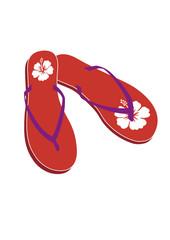 Flipflops rot Hawaiiblume