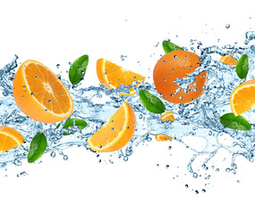 Papiers peints Dans la glace Oranges with water splash