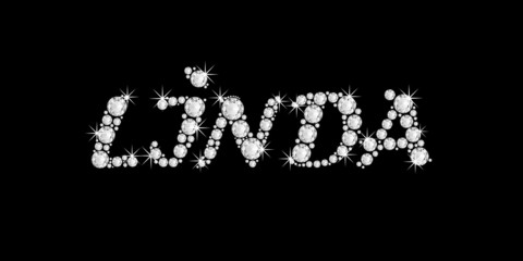 the name LINDA in bling diamonds font style word