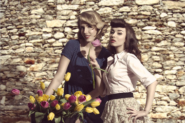 fashion models with flowers
