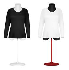 Long sleeve blank shirt on mannequin torso template.