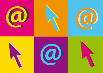 pop art,fluo,internet,arobase,souris,symbole,signe,