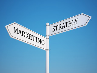 Marketing and Strategy Signpost with Clipping Path