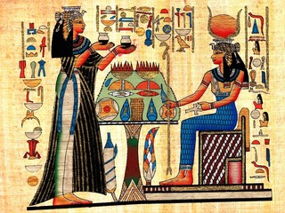 Scene from afterlife ceremony painted on papyrus