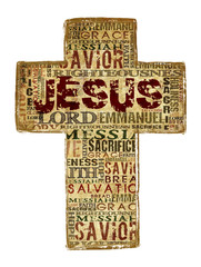 Cross With Religious Words on white background.