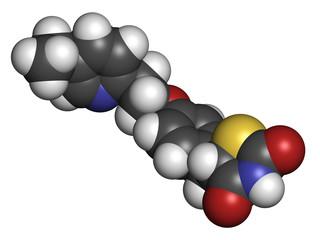 Pioglitazone diabetes drug, chemical structure.