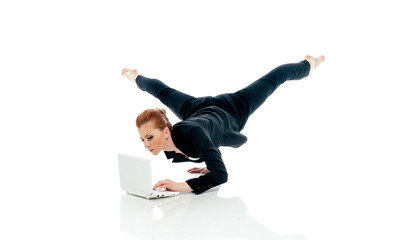 Concept of busyness - entrepreneur posing with PC
