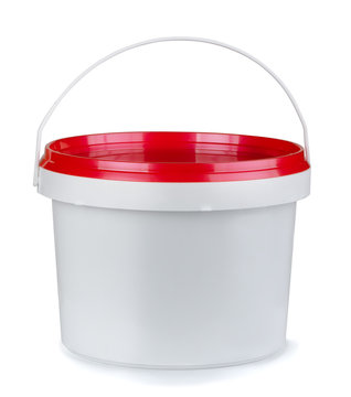 White round plastic food container