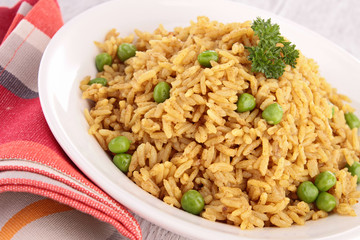 plate of rice and pea