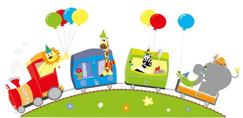 Obraz Wesoły pociąg urodzinowy- zwierzęta i balony - fototapety do salonu