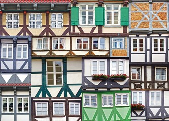 Fototapete - Collage of the ancient unique fahverk houses. Germany