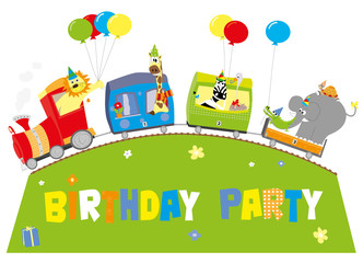 birthday train with happy animals and balloons