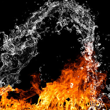 Fire flames with water splash