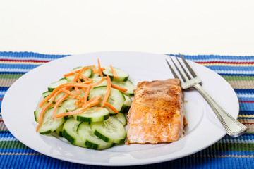 Broiled Salmon with Cucumbers and Carrots