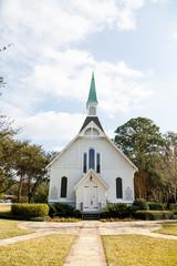 White Church Down Brick Path