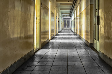 corridor in an abandoned office building