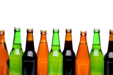Bottlenecks. Bottles of beer. Close up.