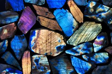 Many colorful natural labradorite gem stones. Wall mural