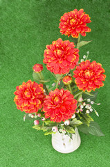 Poster Dahlia Colorful artificial flowers made from cloth